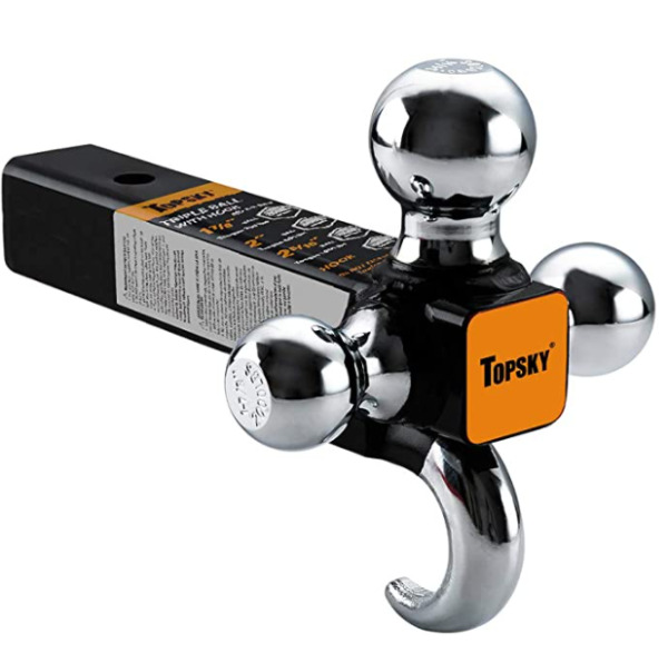 Trailer Hitch Tri Ball Mount with Hook 2 Inch Receiver Hollow Shank Tow Hitch $20.99