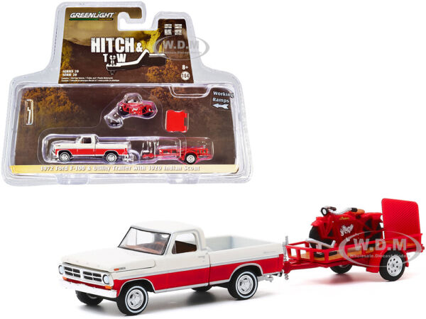 1972 FORD F 100 PICKUP amp; TRAILER amp; INDIAN MOTORCYCLE SET 1 64 GREENLIGHT 32200 A $12.99