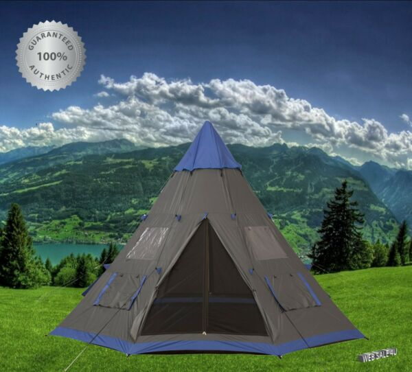 6 Person Large Teepee Camping Tent Outdoor Instant Portable Carry Bag PU Coating $301.56