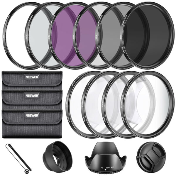 Neewer 67MM Complete Lens Filter Accessory Kit for Lenses with 67MM Filter Size $30.74