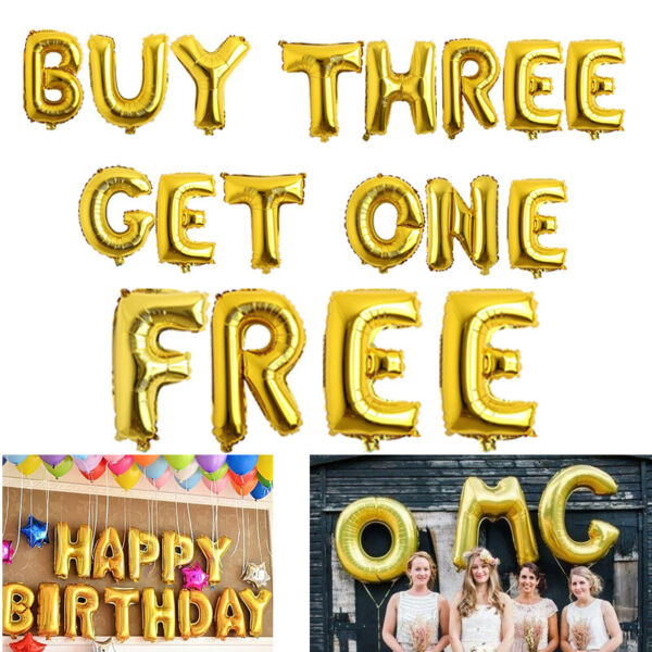 16quot; Foil Balloons Letter Number Gold Helium Birthday Wedding Home Party Decor