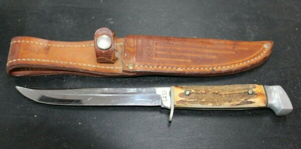 Vintage Case Fixed Blade Stage Handle Knife w Sheath 071CHJ