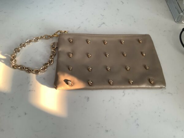 AUTHENTIC CAROL BRODIE RARITIES TAN LEATHER SKULL CHAIN LINK WRISTLET NO RES $24.99