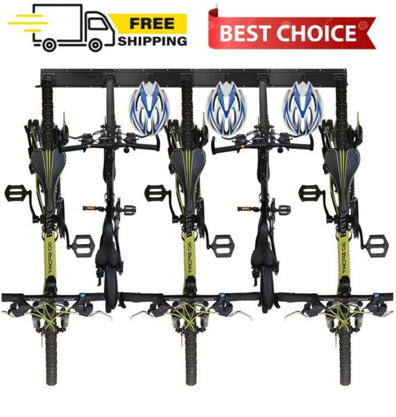 Wall Bike Rack Storage Holds 5 Bicycles and 3 Helmets for Garage Space Saving $59.99
