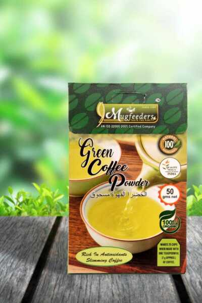Mugfeeders Green Coffee Unroasted Beans Powder for Weight Loss 1.8Oz Pack of 5