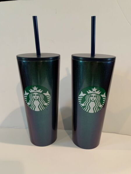 Starbucks Stainless Steel Iridescent 16 oz Cold Cup • 2 cups New in Box