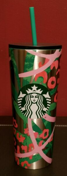 Starbucks Stainless Steel Tumbler 24oz with Straw Pink Green Silver