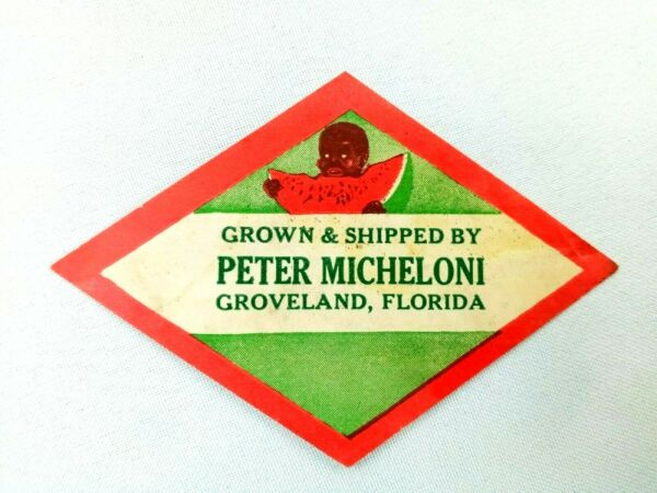 Vintage Label Grown amp; Shipped by Peter Micheloni Groveland FL Produce 4quot; L