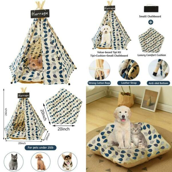 Harrage Folding Indoor Dogs House Outdoor Portable Pet Teepee Dog Cat Tents $63.97