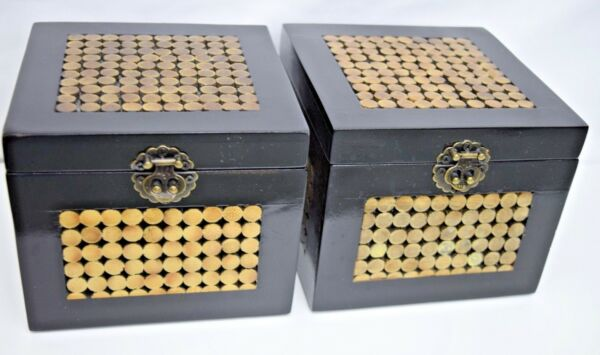 Set of Two Matching Decorative Black and Gold Wooden Boxes With Metal Clasp