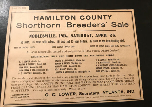 1919 Shorthorn Breeders Cattle Public Sale Cow Noblesville Indiana