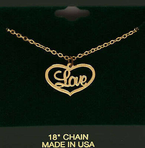 LOVE in HEART CHARM with 18quot; Chain Necklace * Gold Tone * NEW * Made in USA