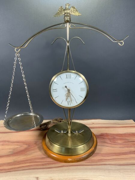 Vintage Sessions United Electric Eagle Scale of Justice Clock