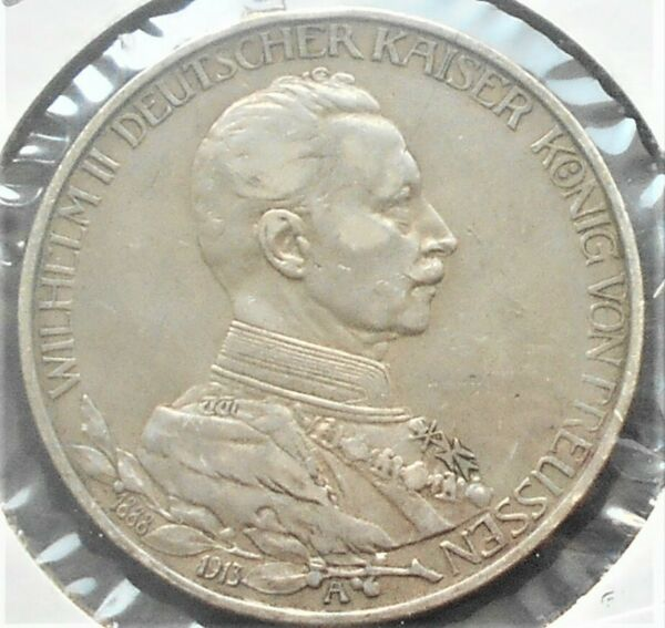 .900 Silver 1913 A German States PRUSSIA 3 Mark KM#535 Military Bust Nice