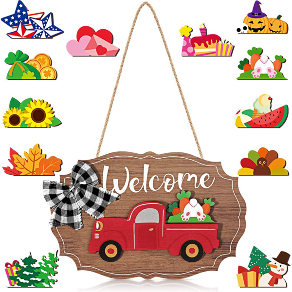 Qunclay 12 Pieces Truck Welcome Sign Front Door Red Truck Decor with Wooden for