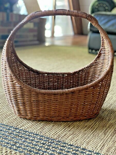 Large Vintage Wicker Wood Shopping Basket With Handle Natural Wood Color $18.99
