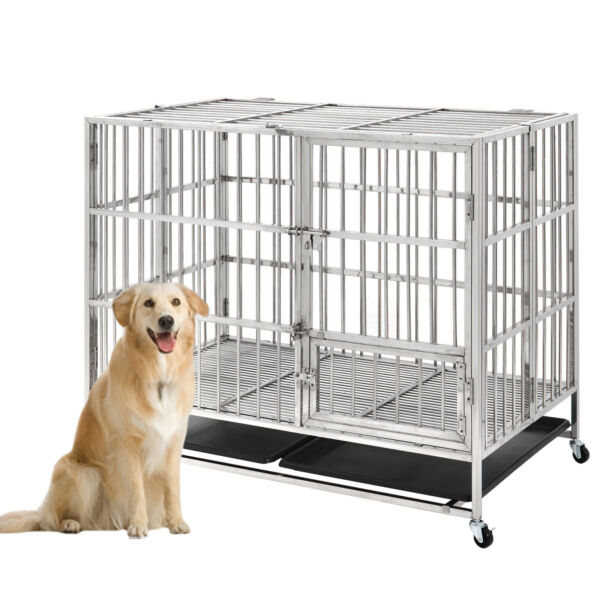 45quot; Heavy Duty Stainless Steel Dog Cage Kennel Large Crate Pet Playpen