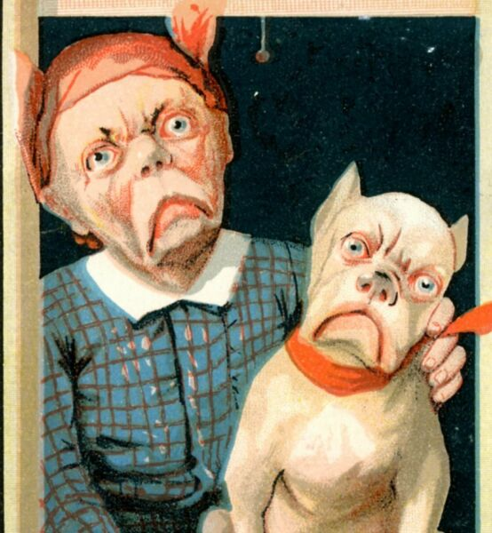 Sad Old Lady amp; Dog Look A Like HY Seidler Cuspidors Victorian Trade Card T1 $27.50