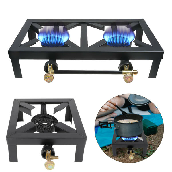 Portable Camping Stove Propane Gas LPG Cooker Cast Iron Burner Outdoor BBQ Grill