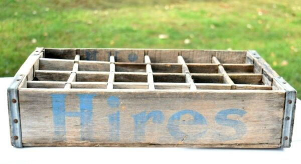 HIRES Root Beer Original Vintage Glass Soda Bottle Wood Crate Carry Tote Store