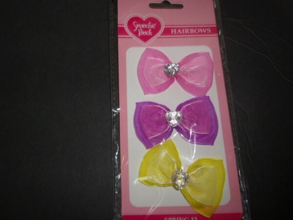 Double CHIFFON Smoochie Pooch HAIRBOWS Dog bands pet puppy grooming set 3 bows $6.74