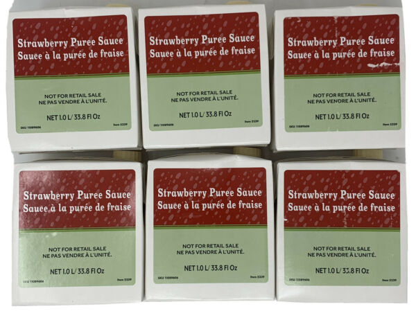 STARBUCKS Strawberry Refresher Puree Sauce 1L Lot of 6 Best By 10 2020