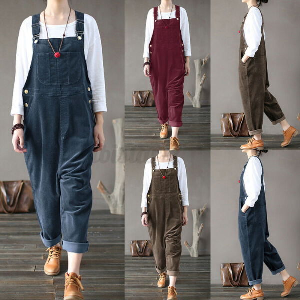 US STOCK Women Corduroy Vintage Dungaree Overalls Long Pants Trousers Romper NEW