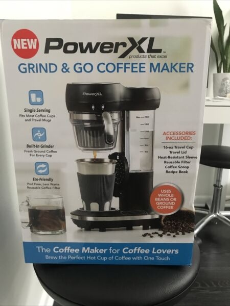 PowerXL Grind amp; Go Coffee Maker Automatic Single Serve with Built In Grinder