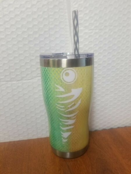 Handmade Custom Multicolor Fish 20oz Tumbler With Lid And Straw $32.94