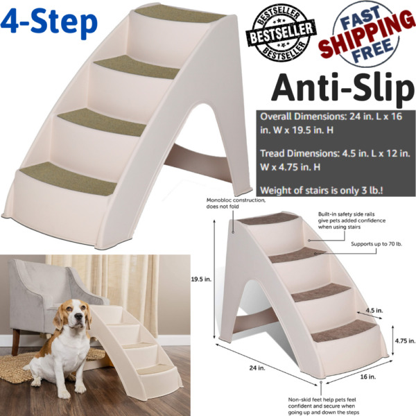 Pet Dog Stairs 4 Step Portable Folding Plastic Anti Slip Easy Up Sure Grip Steps $37.99