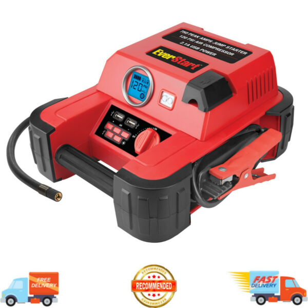 Auto Battery Jump Starter Air Compressor 750 Peak Amps Portable Car SUV Charger $43.95