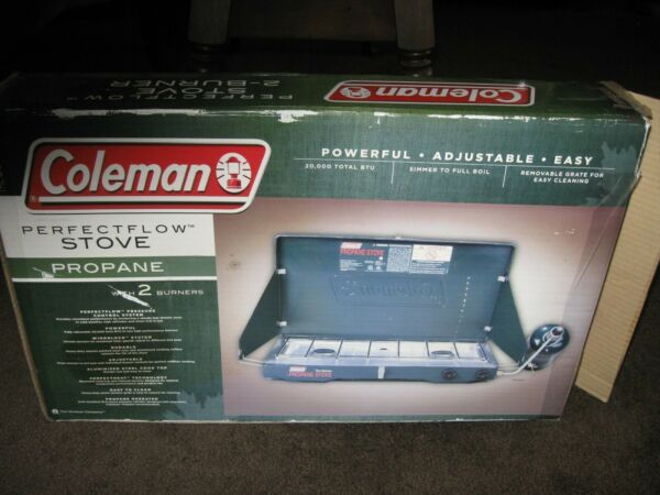 COLEMAN PERFECTFLOW 2 BURNER PROPANE STOVE GREAT FOR CAMPING NEW