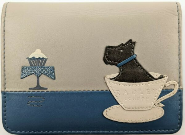 Radley London Scottie Dog And Cupcake Small Leather Card Holder Wallet Rare HTF $59.95