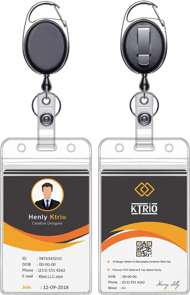 KTRIO 2 Pack Retractable ID Badge Holders with Heavy Duty Carabiner Reel Clip V $7.52