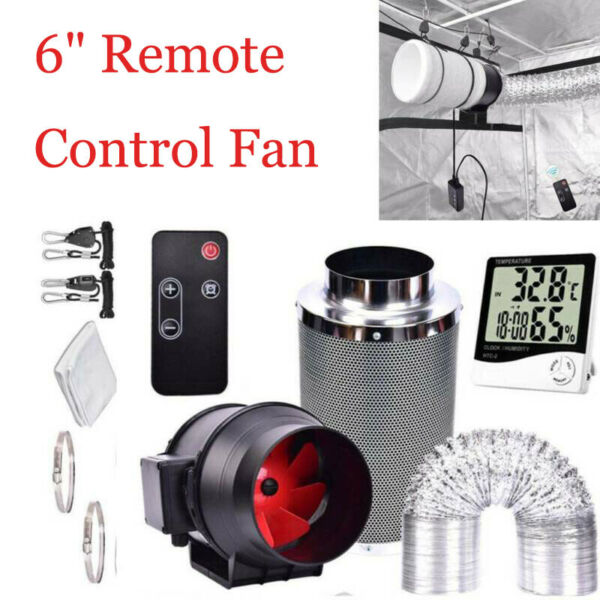6#x27;#x27; Remote Control Fan Inline Grow Tent Ventilation Ducting Carbon Filter USA $131.99
