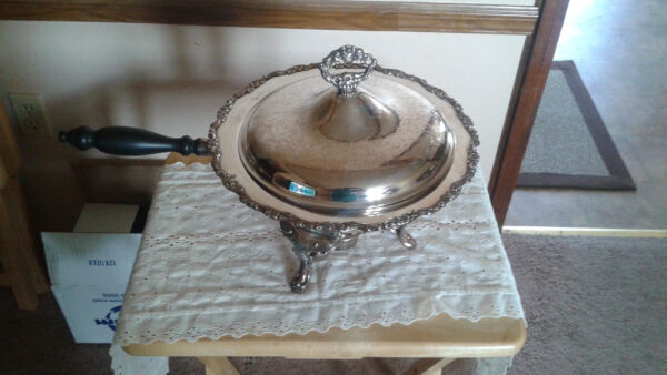 Vintage Silver plate Buffet Chafing Dish with Rare Wick Heater 5 Piece