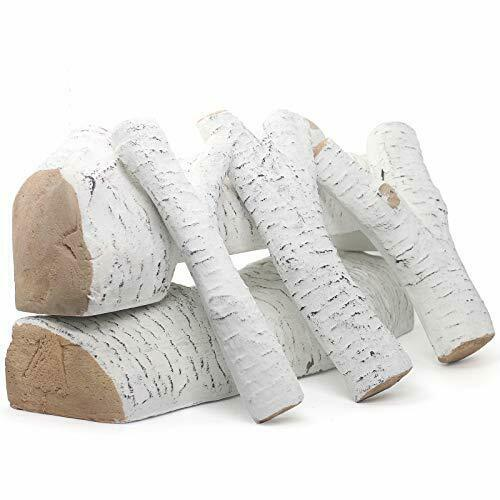 Mr.Ton Ceramic Wood Gas Fireplace Logs White Birch Decorative Logs for All Type