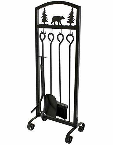 MYFIREPLACEDIRECT Fireplace Tools Sets 5 Pieces Extra Strength Wrought Iron Indo
