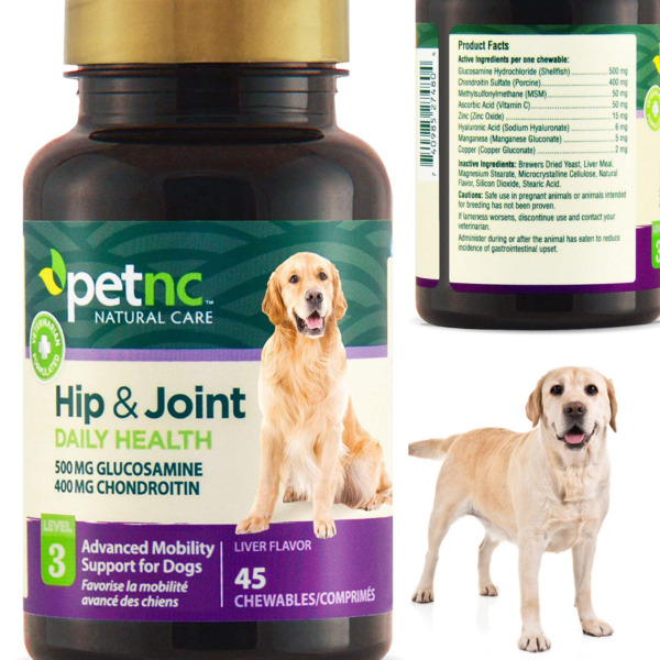 HIP AND JOINT CHEWS For Dogs Natural Care 500mg Glucosamine Supplement 45pcs $10.99