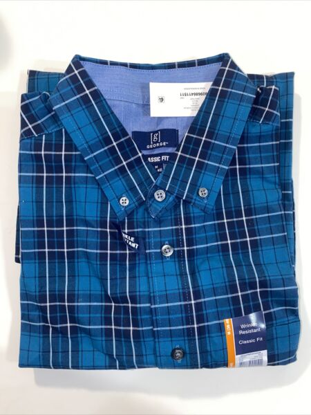 GEORGE Men#x27;s Long Sleeve Plaid Button Down Shirt Casual Business Med Classic Fit