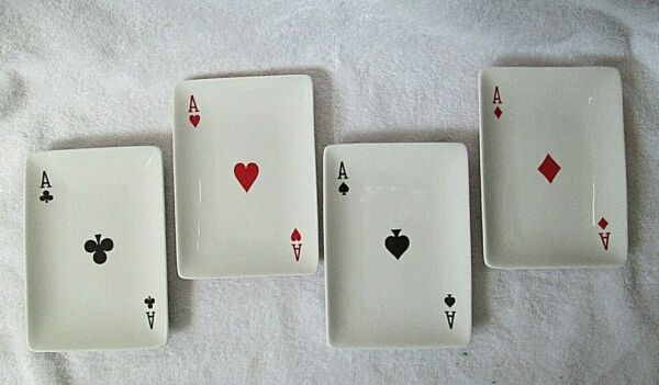 Playing Card Plates Ceramic Dishes 4 x 6 Aces of Each Suit Restoration Hardware $18.80