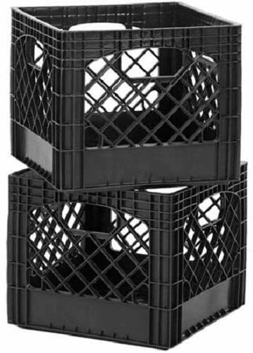 Durable Classic Milk Crate Storage 2 Pack Black Stackable Classic Square $24.49