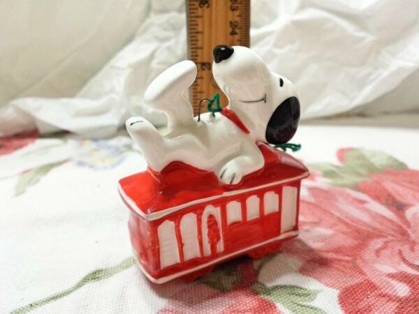 Snoopy Red ceramic cable car ornament made in Japan $34.95