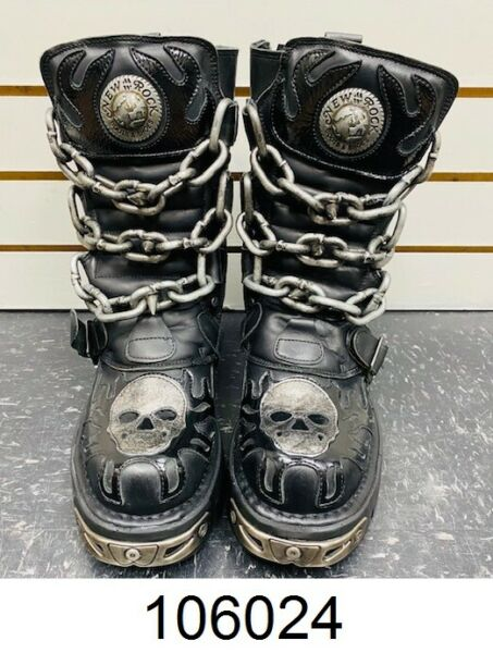 New Rock Mens Black Leather Skull Chain Flame Reactor Boots M.727 S1 Unisex EU39 $239.99