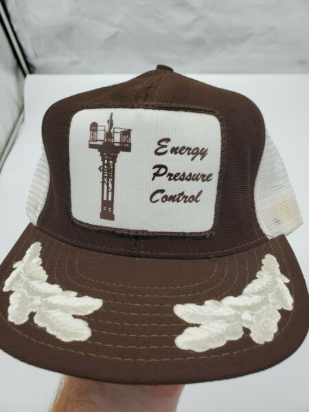 Vintage Mesh Snapback Hat with Patch and White Leaf Texas Oil Gas Energy Drill $12.99