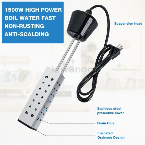 Immersion Heaters Heating for Boiling Bath Water Heavy Duty Submersible Portable $16.48