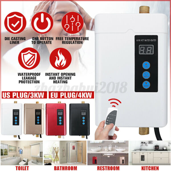 110V Tankless Electric Hot Water Heater Instant Shower Instant Bathroom Kitchen $63.64