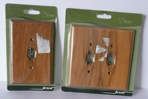 Vintage Atron Traditional Light Oak Wood Switch Plates Wall Plate Set of 2 C $20.95