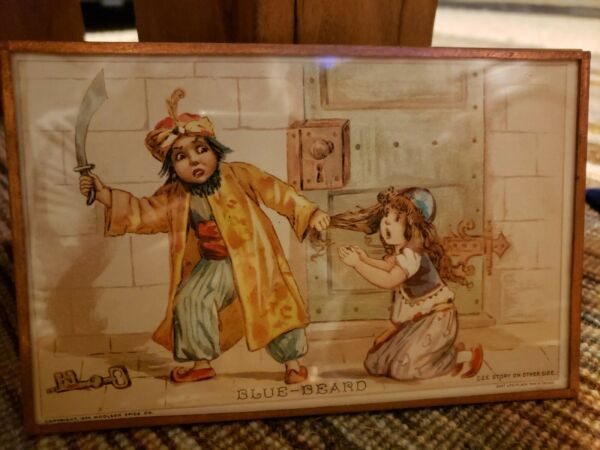 Bluebeard Antique 1894 Victorian Story Card Woolson Spice Lion Coffee Trade Card
