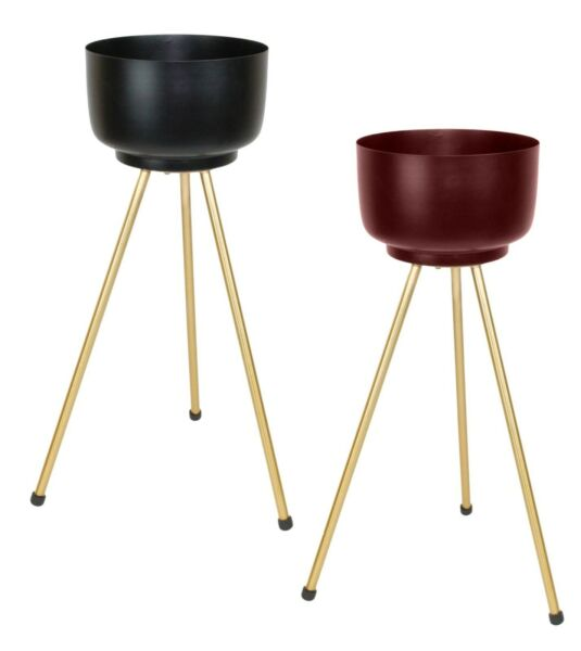 Plant Pot Tall Metal Indoor Stand Plant Holder With Legs Gold Black Burgundy $52.90